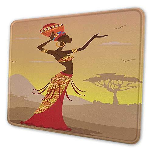 Afrikanische Frau des afrikanischen ergonomischen Mauspads in der Wüste mit Möwen, die um stilvolles kunstvolles Druckmauspad der Volksfrau für Desktop-Computer Bernsteinbräune fliegen