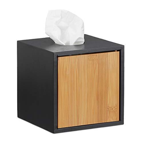Relaxdays Kosmetiktücherbox schwarz, Taschentuchbox quadratisch, Kosmetikbox Bambus, HxBxT: 14,5 x 14,5 x 14,5 cm, black