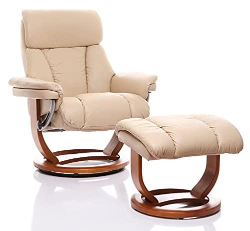The Premium Genuine Leather Swivel Recliner Chair & Footstool In Cream (Mars/Mars)