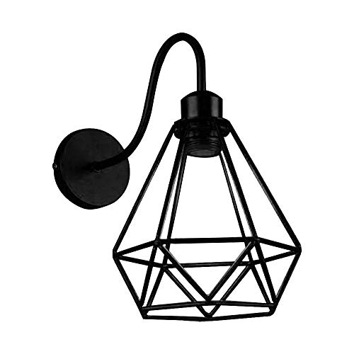 ZZM Wandleuchte aus Metall, Vogelkäfig, aus Eisen, Vintage-Diamant, nordische Form, Eisen, Industrie-LED, E27, Wandleuchte, Loft-Beleuchtung