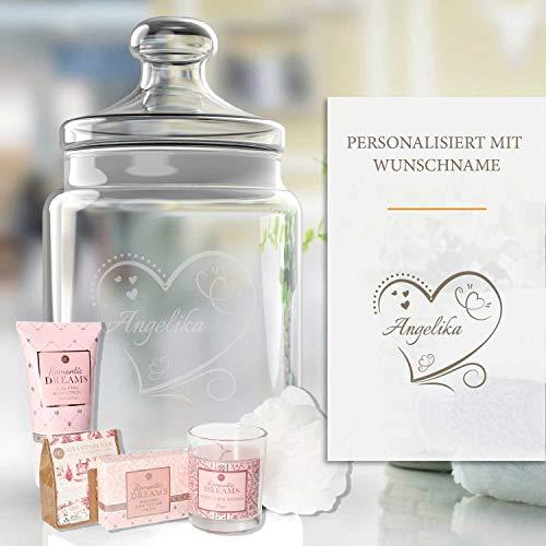 Pflege-Geschenkset Romantische Träume 5-TLG. | Personalisiertes Glas mit Name, Shampoo, Duschgel, Seife, Schwamm | Geschenk für Frauen | Valentinstag