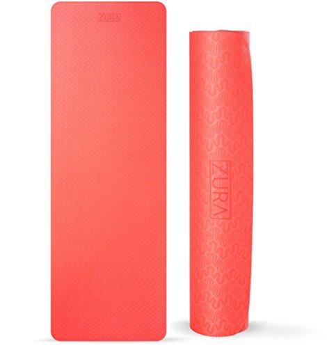 ZURA Nonslip Travel Yoga Mat, Best Reversible 2-in-1 Eco-Friendly Yoga Mat - Lightweight Exercise Mat, 5 mm Thick (Red Black)