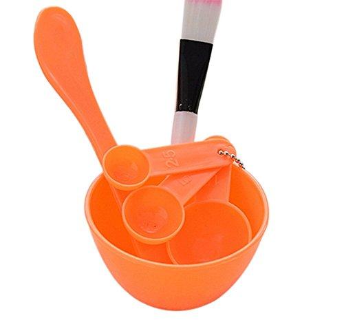 6 in 1 Demarkt make-up DIY gezichtsmasker werggereedschap huidverzorging sleutel penseel spatel lepel homemade masker bowl, oranje