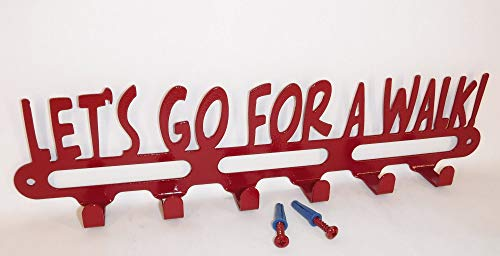 Dog Leash Wall Hook. Let's Go For A Walk. Made in USA. Cherry Red. 14 inches Wide.