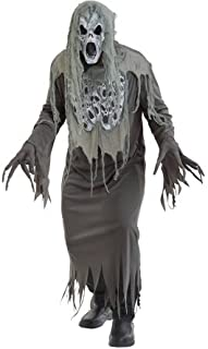 Boys Wailing Ghost Zombie + Mask & Gloves Halloween Horror Film Fancy Dress Costume Outfit (Medium) Gray