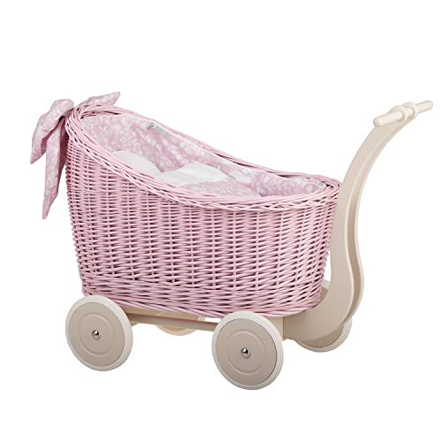 e-wicker24 - Carrito para muñecas (mimbre), color rosa