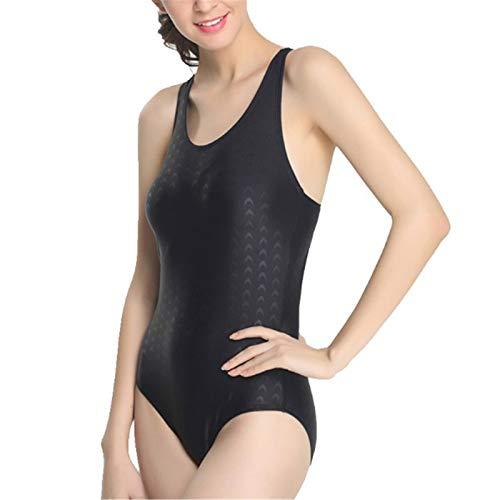 LFANH Traje de baño para mujer, de una pieza, triángulo deportivo, siamés, atlético, con almohadillas para el pecho, negro, 3XL