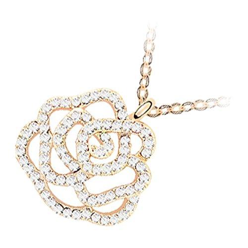 GWG Jewellery Collane Donna Regalo Collana Placcata Oro 18K Ciondolo Elegante Bocciolo di Rosa con Pavé di Pietre Bianchi per Donne