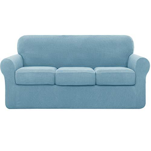 subrtex 3 Plazas Funda de Sofá de con 3 Cojines de Asiento Separados de Alta Elasticidad para Sillón Anti Arañazos Protector de Muebles Lavables (3 Plazas, Azul Claro)
