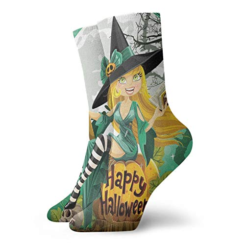 Calcetines cortos de longitud de pantorrilla suaves alegres sonrientes para disfraz de Halloween en una calabaza gigante luna bosque, calcetines para mujeres y hombres, ideales para correr