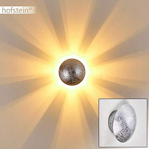 Wandlampe Mezia, runde Wandleuchte aus Metall in Silber mit Lichtspiel an der Wand, 1 x G9 max. 28 Watt, Innenwandleuchte mit Strahlen-Effekt in Struktur-Silber-Optik, geeignet für LED Leuchtmittel
