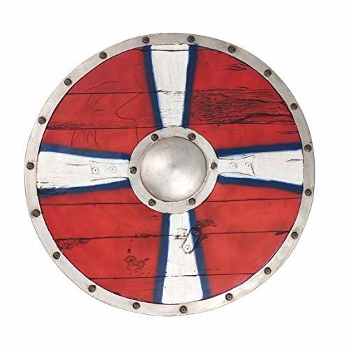 LOOYAR - Juguete de arma redonda de espuma de poliuretano para adultos vikingos de edad media, para disfraz de guerrero berserker soldado, disfraz de batalla, Halloween, cosplay, color rojo
