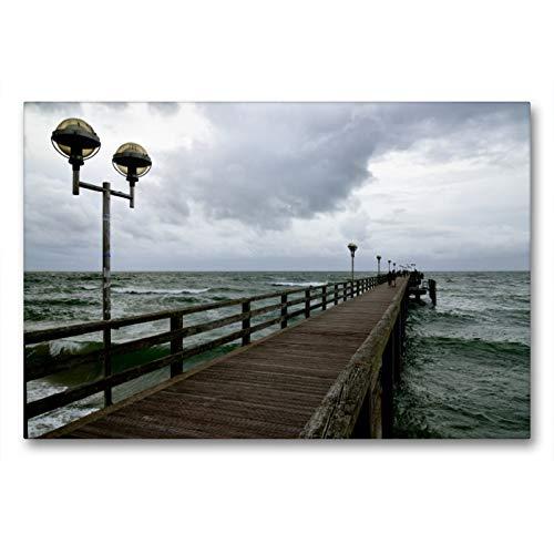 Premium Textil-Leinwand 90 x 60 cm Quer-Format Seebrücke Graal-Müritz | Wandbild, HD-Bild auf Keilrahmen, Fertigbild auf hochwertigem Vlies, Leinwanddruck von Christoph Höfer