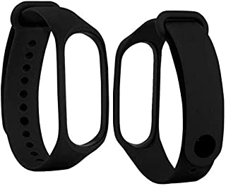 MI cosa Black and Black Combo (only for mi Band 3, 3i and 4) Adjustable Xiaomi Mi Band 3/ Mi Band 4 Watchband Silicone Str...