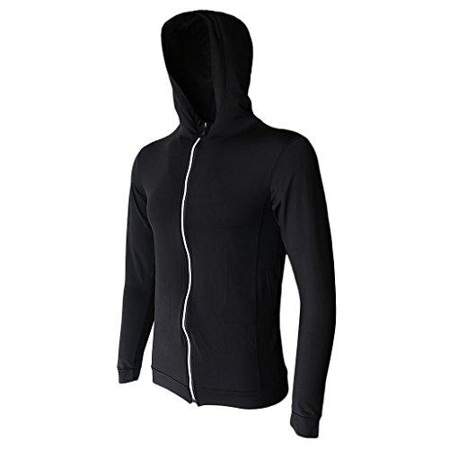 MagiDeal Vestes de Sport à Capuche Homme Zip Manches Longues Running Training Hoodie Sports Séchage Rapide - Noir, XL