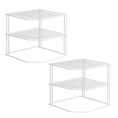 ROFAY Organizador de armario de cocina, 3 niveles, color blanco, para almacenamiento de armarios de cocina, estante para armario de cocina, organizador de inserción (2 unidades)