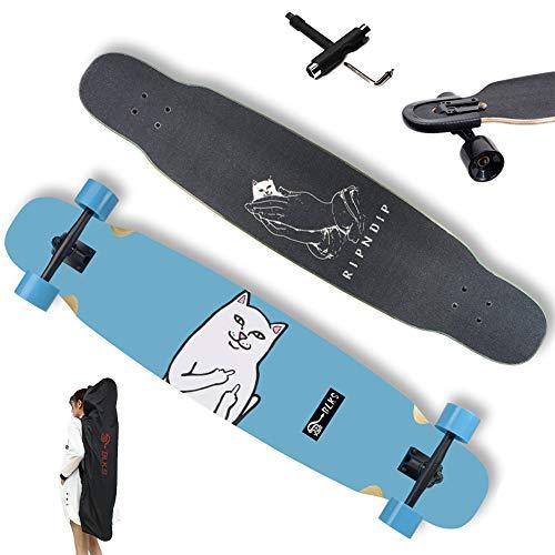 WRISCG Longboard Drop-Through Dance Freeride Skaten Cruiser Boards, inkl T-Too & Nasen Wächter & Rucksack, High Speed ABEC-11 Kugellagern, 7 Schichten Ahorn, 117×23cm Komplettboard Skateboard,C