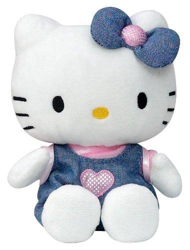 Hello Kitty - 021493 - Jouet Premier Age - Bean Bag en Peluche - Habillage Robe en Jean - 15 cm