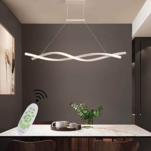 LED Pendelleuchte Esstischlampe Hängelampe Dimmbar Esszimmer Weiß Decke Lampe Modern Design Mit Fernbedienung Hängeleuchte Höhenverstellbar Wohnzimmerlampe Küchelampe Landhaus Deko Bar Kronleuchter