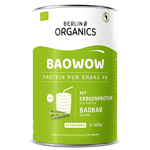 Protein Vegan - Berlin Organics - Baowow Pur - 100% Bio Protein Shake aus vier veganen Proteinen - Mehrkomponentenprotein (400 g)