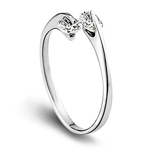 AIUIN 1 ring van zilver, in grootte verstelbaar, strass, dubbele ring om te openen, sieraden en accessoires
