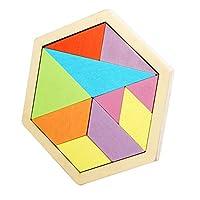 タングラム パターンブロック 智慧おもちゃ 無毒無害 幼稚園 学生 クリエイティブな木製パズル 3-6-7-10歳 (10枚セット)