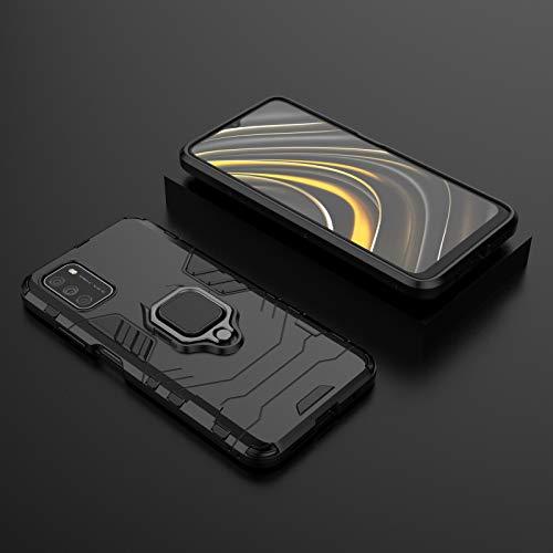 BAIYUNLONG Funda Protectora, para la Caja del teléfono Xiaomi Poco M3, la Caja Delgada con la Cubierta de la Caja del teléfono PC y TPU de TPU con el Titular (Color : Black)