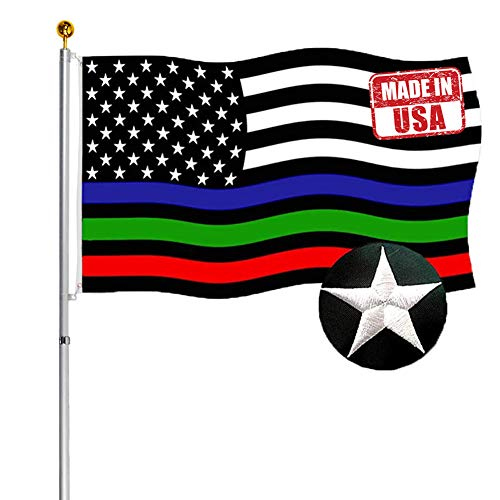 Embroidered Thin Red Blue Green Line US Flags 3x5 ft Outdoor- Vivid 200D Nylon Police Firemen Military American Flags Banners- First Responder Flags for Honoring Law Enforcement Border Patrol Agents