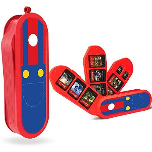 Aufbewahrungsbox für Spiele der Nintendo Switch, 8 in 1 Game Card Aufbewahrungskoffer, Speicherkarten Tragetasche,Kartentragetasche Tasche,Spiele Tasche Kompatibel (Red)