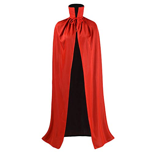 Black and Red Reversible Halloween Christmas Cloak Masquerade Party Cape Costume (55 inch, Stand Collar)
