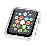 Fashion Metal Case with Bling Crystal Diamonds Plate Protective Cover Ultra Thin Bumper for Watch 38mm/42mm Series 1/2/3(Best 3D Bling Gift for Your iWatch) (Silver, 42 mm)