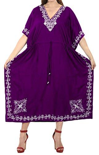 LA LEELA Mujeres caftán Rayón túnica 3D HD Impreso Kimono Libre tamaño Largo Abaya Vestido Jalabiyas de Fiesta para Loungewear Ropa de Dormir Playa Todos los días Cubrir Vestidos Violeta_J817