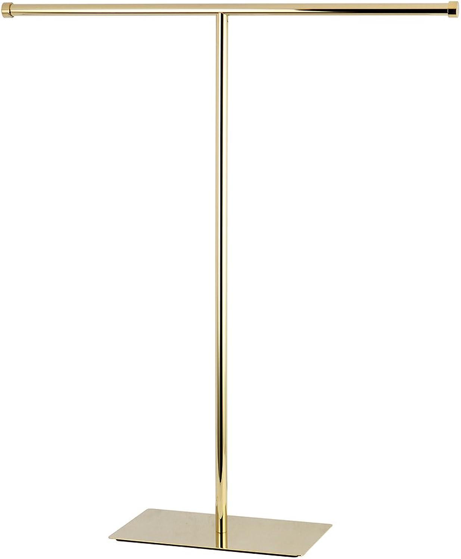 Kingston Brass Claremont T-Shape Towel Rack, Polished Brass