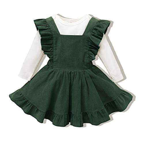veikimous 12-18 Months Girl Clothes Baby Overalls Dress Backless Ruffle Sleeveless Skirt Long Sleeve Tops Solid Romper Jumpsuit Spring Fall Winter Toddler Infant Girls Clothing Green