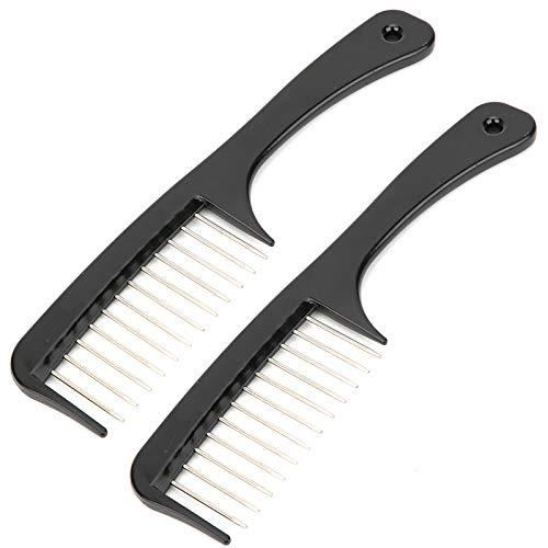 Peine adecuado, Peine de dientes ancho ABS + Aguja de acero 2pcs Sensación de la mano