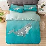 Aishare Store - Juego de funda de edredón para cama de tamaño King, diseño de ballena ártica Narwhal con WHI, ultra suave y fácil de cuidar, transpirable, estilo simple y acogedor.
