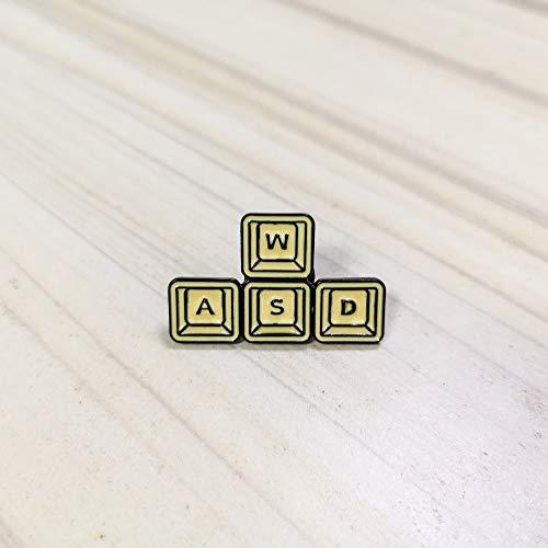 Vintage WASD clavier bouton broche jaune badges de jeu vidéo épinglette broches chemise sac à dos bijoux Gamers cadeau