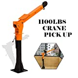 RUGCEL WINCH 1100lb Folding Truck-Mounted Crane, Painted Steel Pickup Truck Jib Cranes for 12V/24V Electric/Hand Operated Winch