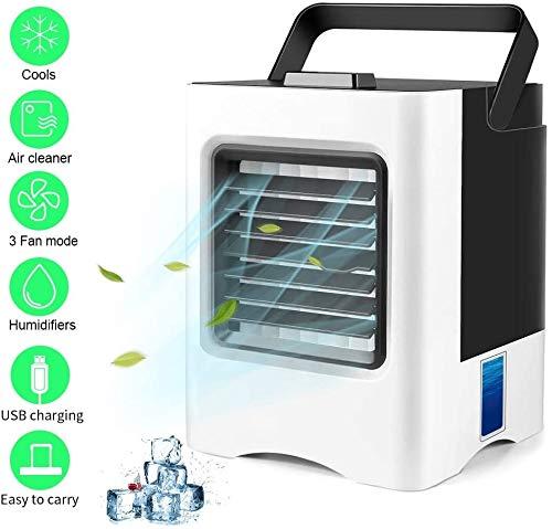 Woodtree Persönliche Luftkühler, bewegliche Miniklimaanlage, 3 in 1 Verdampfungskühlvorrichtungen, Luftbefeuchter, Reiniger mit USB, 3 Geschwindigkeiten Desktop-Lüfter for Büro, Heim, Dorm, Reise