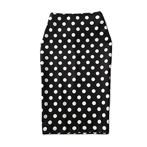 BoxJCNMU Faldas a Media Pierna con Estampado de Lunares para Mujer Faldas a Media Pierna Ajustadas hasta la Rodilla de Cintura Alta Oficina