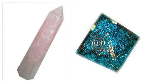 Jet International Piramide di organo di feroza eccitata e obelisco di quarzo rosa 1 Ogni gemma Rame Miscela di metalli Raro Guarigione rara Energia positiva Protezione EMF Radiazione Onde assorbite