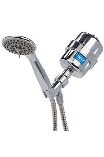 Propur Shower Filter ProMax Chrome Plus with Massage Head and 48' Stainless Steel Flex Hose