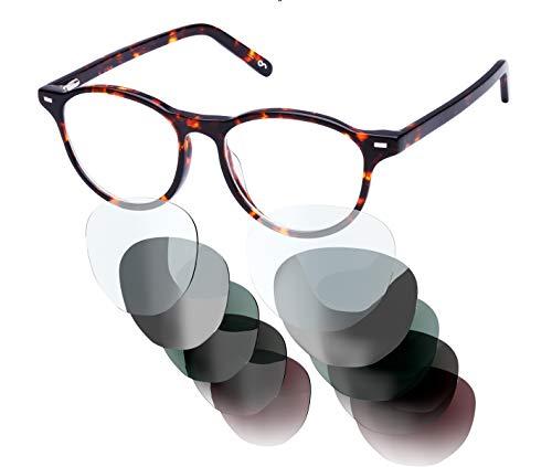 Sym Runde Brille mit Sehstärke von -4,00 bis +4,00 mit auswechselbaren Gläsern in 6 Farben für Kurzsichtigkeit und Weitsichtigkeit - Damen - City Kollektion Modell London turtleshell