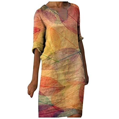 Generic Damen Kleid Sommerkleider V-Ausschnitt Freizeitkleider Knielang Kleid Retro Style Print Shirt Leinenkleid Blusenkleid Elegante Kleid...