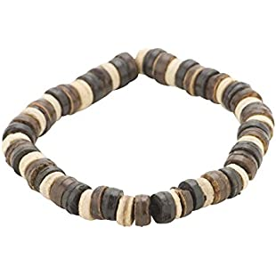 81stgeneration Men's Wood Brown Black Beige Stretch Beads Handmade Adjustable Tribal Bracelet:Deepld
