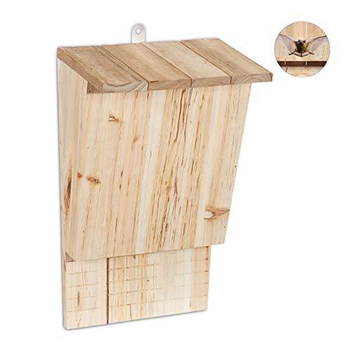 Relaxdays Fledermauskasten, großer Unterschlupf für Fledermäuse, aus unbehandeltem Holz, HxBxT: 34 x 22,5 x 13 cm, natur