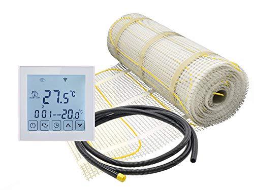 Elektrische Fußbodenheizung für Fliesen 100 W/m² mit Thermostat RT-60 WLAN/Alexa kompatibel (4 m² - 0,5 x 8 m)