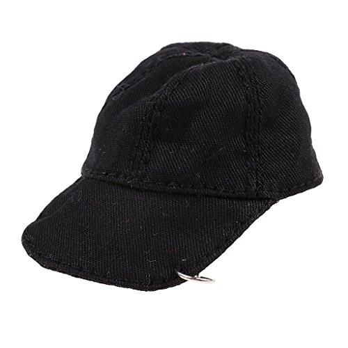 D DOLITY Schwarz Baseball Basecap Mütze Cap Zubehör für 12 Zoll Actionfiguren - Schwarz