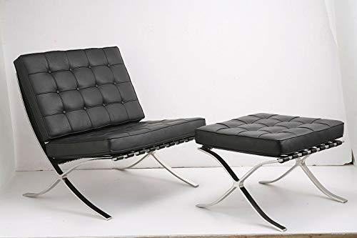 PLUSHY Ludwig Mies Ven der Rohe Barcelona Pavillon Stuhl und Polsterhocker SCHWARZ Echtes Italienisches Leder