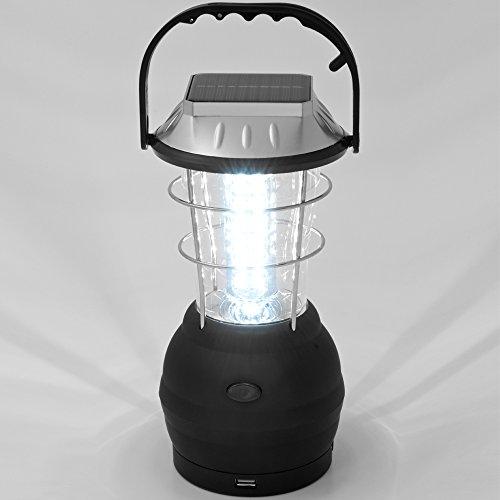 Monzana LED Solar Campinglampe Multifunktion Outdoor Camping Zeltlampe Campingleuchte 36 LEDs Tragegriff 4 Lademöglichkeiten